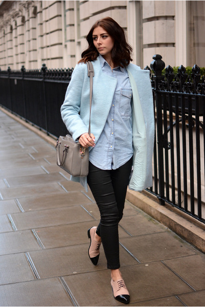 sky blue Zara coat - black 7 for all mankind jeans - light blue Zara shirt