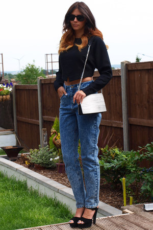 black Kurt Geiger heels - navy asos jeans - heather gray snakeskin H&M bag