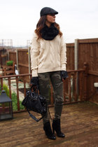 cream chunky knit NowIsStyle sweater - black Zara boots
