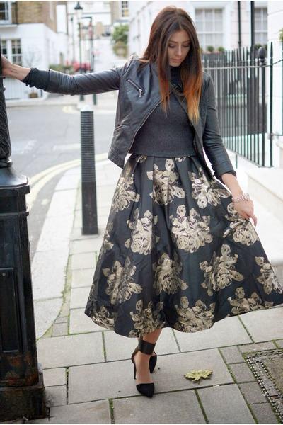 black Coast skirt - black Zara jacket - gray Zara jumper - black Zara heels