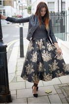 black Coast skirt - black Zara jacket - gray Zara jumper - black Zara heels