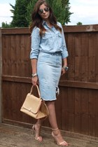 sky blue denim chambray Zara shirt - eggshell warehouse bag