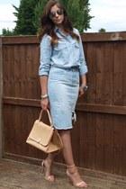 sky blue denim chambray Zara shirt - eggshell warehouse bag
