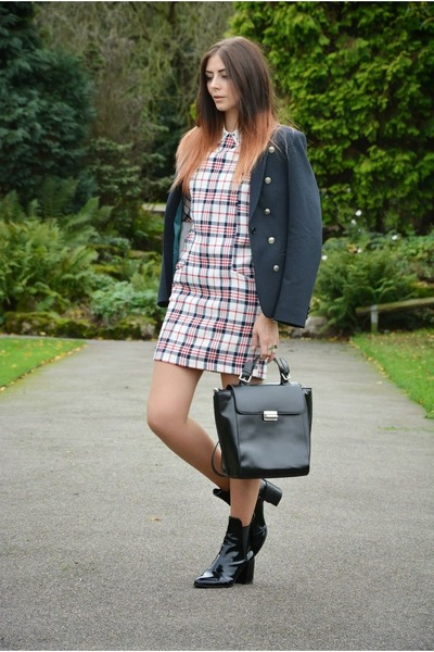 black Zara boots - white Zara dress - navy Superdry blazer - black Zara bag