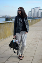 black Forever 21 jacket - black balenciaga bag - black Ray Ban sunglasses