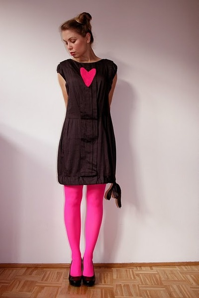 black eley kishimoto dress - black me too shoes - hot pink random tights