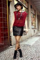 tattoo Dangerfield stockings - black etam boots - black H&M coat