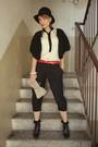 Beige-alexander-mcqueen-blouse-black-alcott-black-random-pants-red-vintage