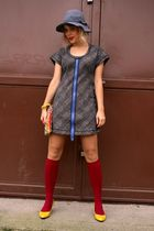 vintage dress - yellow random shoes - red Bepon socks - recycled bag - gray Divi