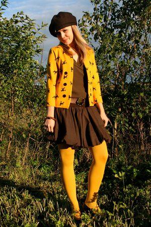 gold H&M blazer - brown ted baker top - brown TFNC skirt - brown escada belt - g
