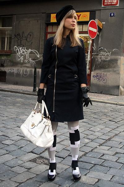 black Public Beware coat - black turban bcbg max azria hat