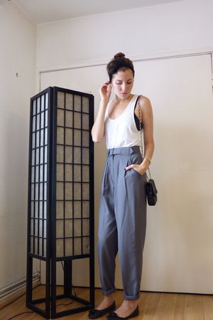 gray thrifted pants - black Marc Fisher shoes - white American Apparel shirt - b