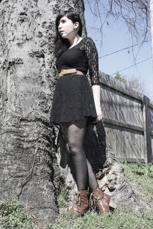 tan lace-up Urban Outfitters boots - black lace dress - swiss dot tights - vinta