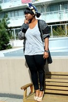 joe fresh style leggings - rachel roy cardigan - BCBG t-shirt - sam edelman heel