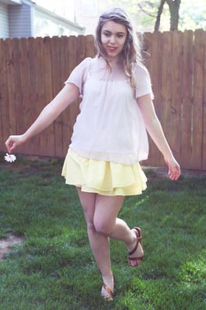 bronze Diba sandals - light yellow cotton Forever 21 skirt