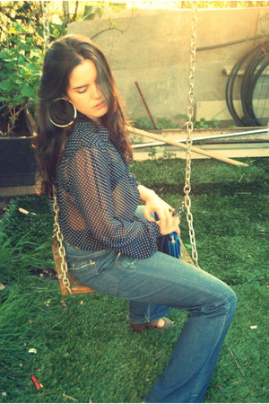 blue pull&bear jeans - blue Zara bag - navy BLANCO blouse
