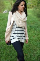 white H&M sweater - light pink Zara blazer - light pink H&M scarf - navy pull&be