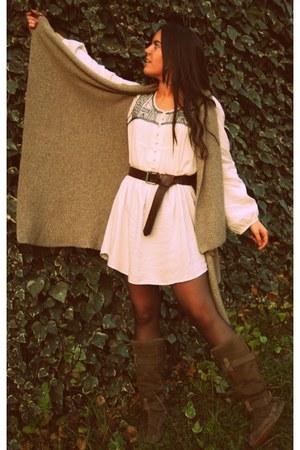 Cubanas boots - ivory Primark dress - camel H&M cardigan - H&M belt