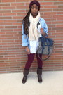 Dark-brown-knee-high-boots-franco-sarto-boots-brick-red-forever-21-leggings