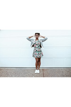 nike shoes - Forever21 dress - Dex cardigan