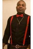 red Pierre Cardin tie - black Fred Perry shirt - dark green Gucci belt