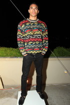 red coogi swater vintage sweater - black Gucci belt - black Kenneth Cole pants