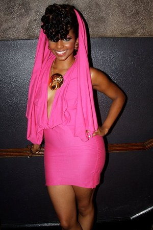 hot pink BCBG dress - gold Fendi necklace - gold Steve Madden heels