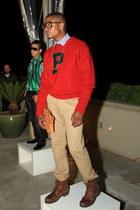 dark brown Ralph Lauren boots - red vintage polo Ralph Lauren sweater