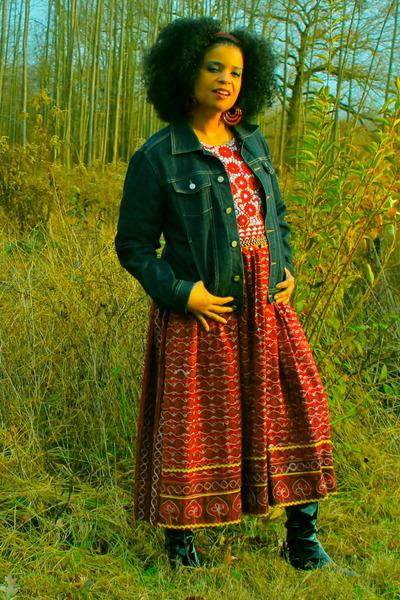 ruby red dress - denim jacket calvin klein jacket