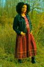Ruby-red-dress-denim-jacket-calvin-klein-jacket