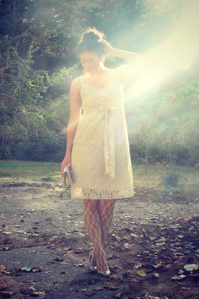 cream lace thrifted dress - cream patterned Target tights