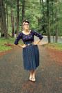 Navy-polka-dot-target-shirt-navy-crushed-velvet-vintage-cape
