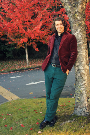 maroon velvet JCPenney jacket - black Target shirt - dark green Target pants