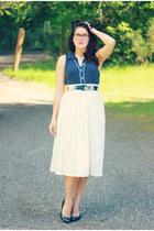 navy polka dot Forever 21 blouse - navy Target heels