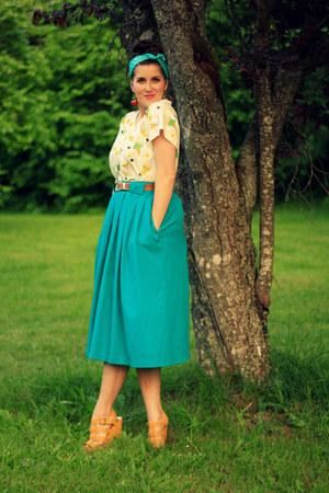 white OASAP t-shirt - red cherry OASAP earrings - teal thrifted vintage skirt