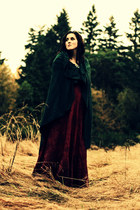 dark green homemade cape - brick red thrifted dress