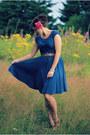 Teal-thrifted-dress-magenta-thrifted-heels-aquamarine-forever-21-bracelet