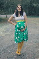 turquoise blue vintage skirt - white Target shirt - yellow Target tights