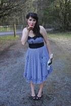 black gingham modcloth dress - black cutout thrifted heels