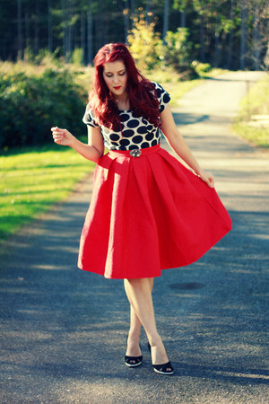 red embroidered OASAP skirt - white polka dot Target shirt