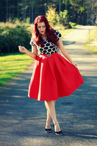 red embroidered OASAP skirt - white polka dot Target shirt