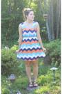 White-chevron-stripe-the-jean-girl-dress-coral-ombre-teardrop-target-earrings