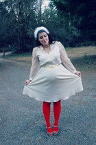 ivory vintage dress - ivory blusher veil vintage hat - red Target tights