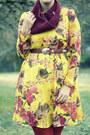Yellow-oasap-dress-burnt-orange-target-tights-brick-red-handmade-scarf