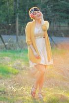 cream thrifted dress - mustard Target cardigan
