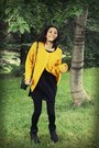 Black-vintage-bag-yellow-vintage-cardigan-black-bershka-dress-black-unknow
