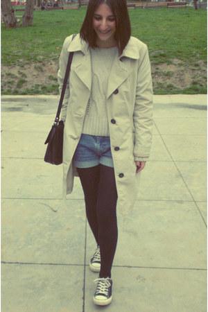 Marks&Spencer coat - vintage bag - vintage shorts - Bershka jumper - Converse sn