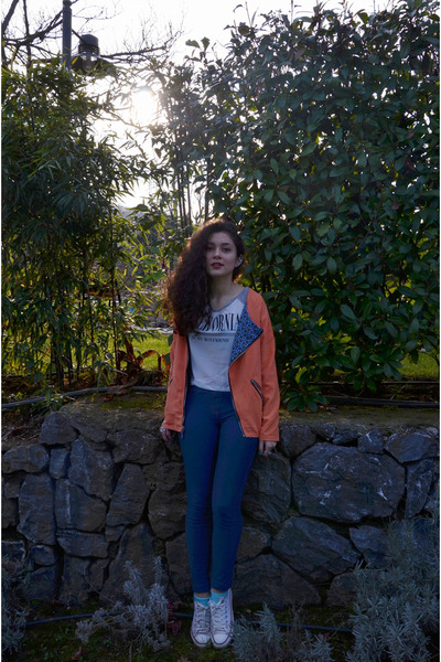 carrot orange romwe jacket - blue Sustilo leggings