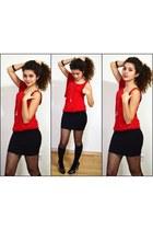 red Stradivarius blouse - black Stradivarius skirt - white Accessorize necklace