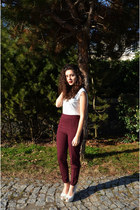 maroon high waisted asos pants - ivory Stradivarius blouse